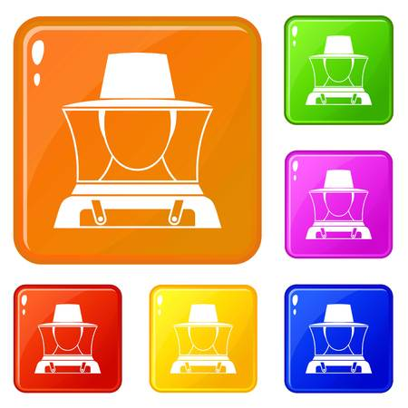 Beekeeper icons set vector color
