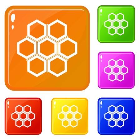 Little honeycomb icons set vector color Illustration