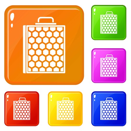 Honeycomb icons set vector color