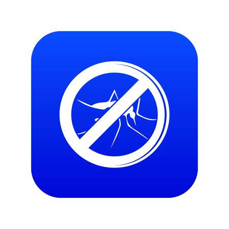 No mosquito icon blue vector Illustration