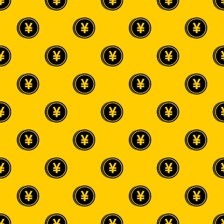 Coin yen pattern seamless vector repeat geometric yellow for any design