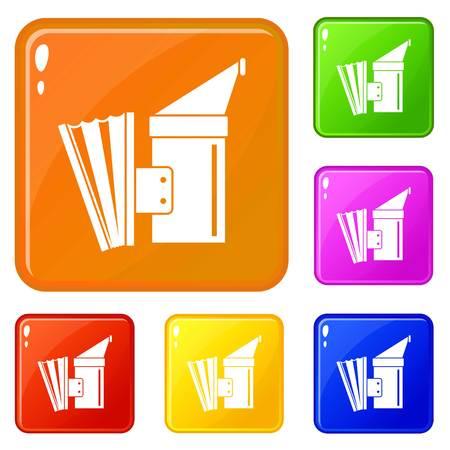 Fumigation icons set vector color Illustration