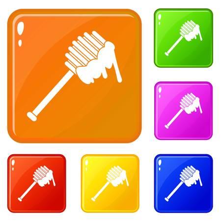 Honey spoon icons set vector color