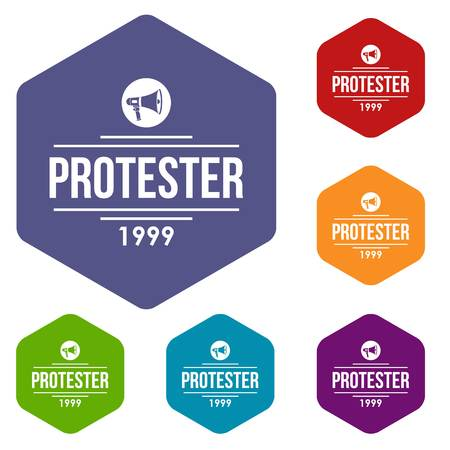 Protester gramophone icons vector hexahedron