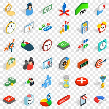 Teamwork icons set, isometric style