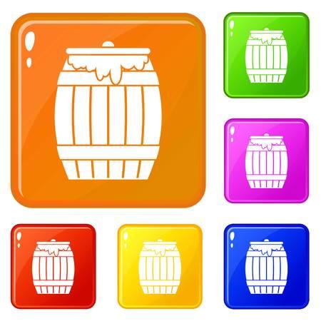 Honey keg icons set vector color