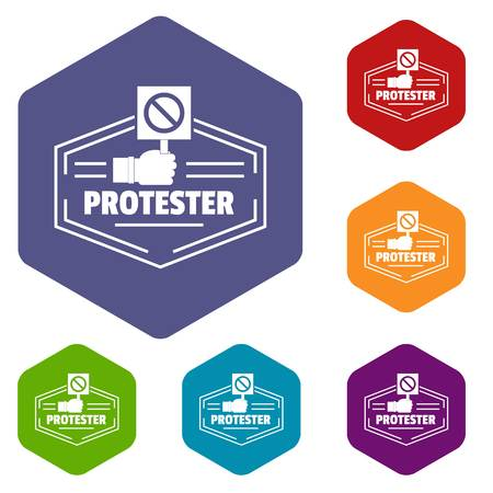 Protester icons vector hexahedron