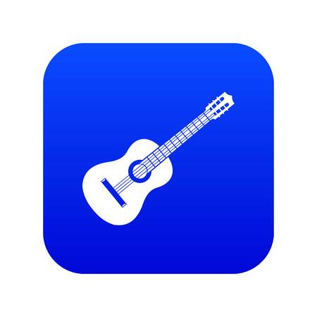 Guitar icon digital blue for any design isolated on white vector illustration