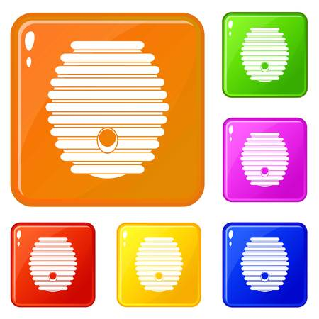 Beehive icons set collection vector 6 color isolated on white background