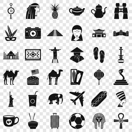 Tour icons set. Simple style of 36 tour vector icons for web for any design