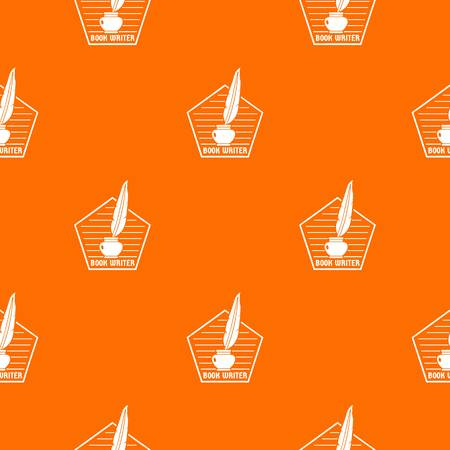 Book writer pattern vector orange