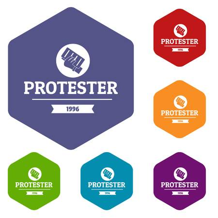 Protester leaflet icons vector hexahedron Illustration