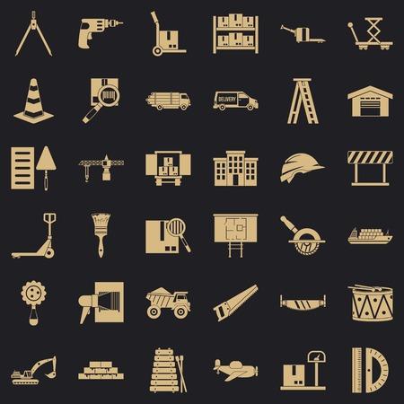 Camion icons set, simple style Ilustração