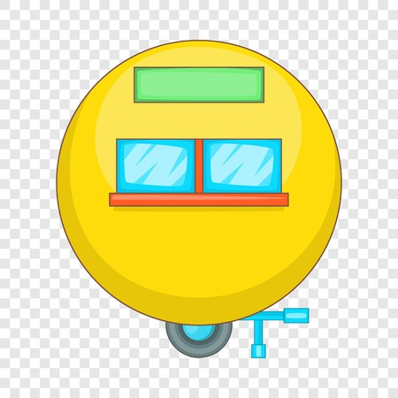 Camping trailer icon, cartoon style