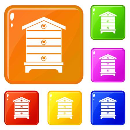 Hive icons set vector color