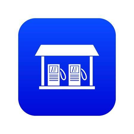 Gas station icon digital blue