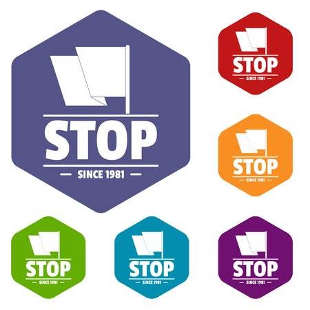 Social protest stop icons vector hexahedron Illustration