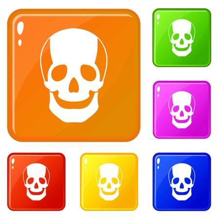 Skull icons set vector color Иллюстрация