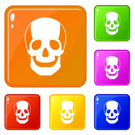 Skull icons set vector color Illustration