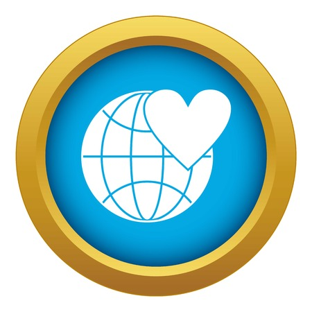 Earth world globe with heart icon blue vector isolated Illustration