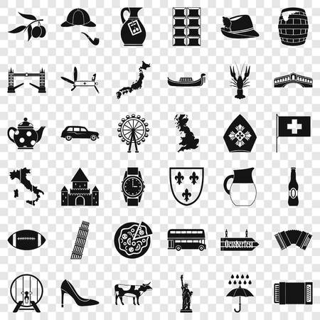Pisa icons set. Simple style of 36 pisa vector icons for web for any design 矢量图像