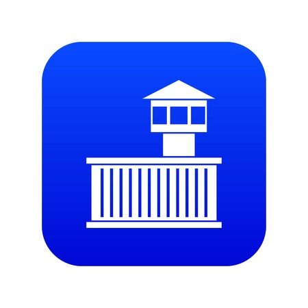 Prison tower icon digital blue