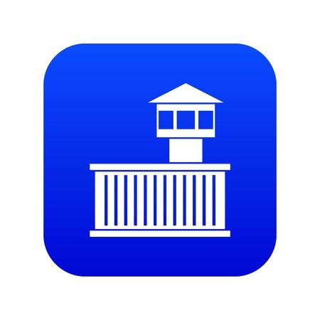 Prison tower icon digital blue