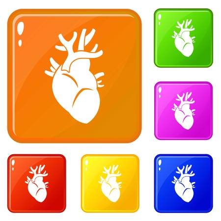 Heart icons set vector color