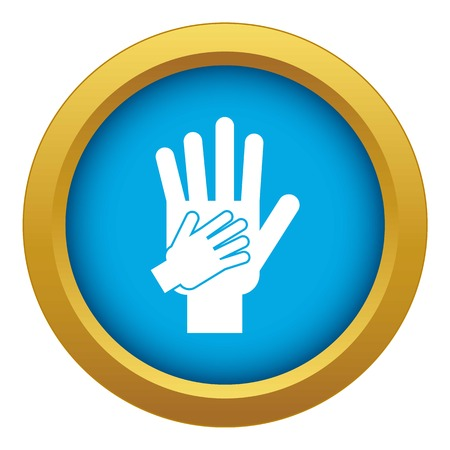 Parent and child hands together icon blue vector isolated
