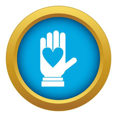 Hand with heart icon blue vector isolated Illustration