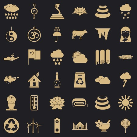 Asian place icons set, simple style