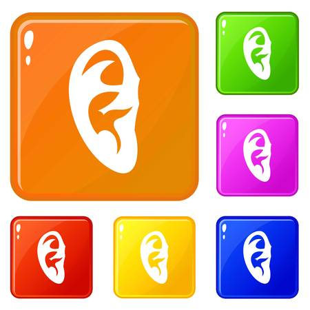 Ear icons set vector color