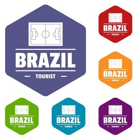 Brazil tourist icons vector hexahedron  イラスト・ベクター素材