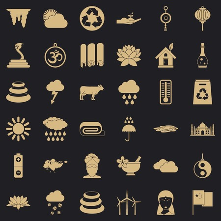 Asian location icons set, simple style