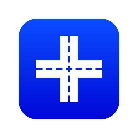 Crossing road icon digital blue