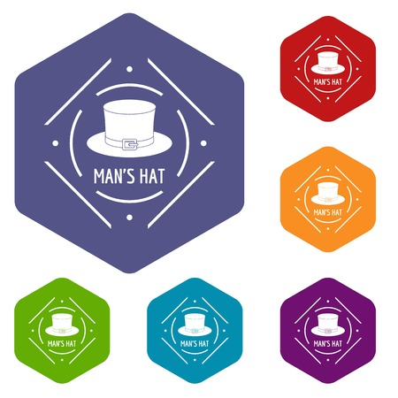 Cylinder hat icons vector hexahedron Ilustrace