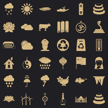 Asiatic icons set, simple style Ilustrace