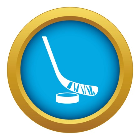 Stick and puck icon blue vector isolated Illustration