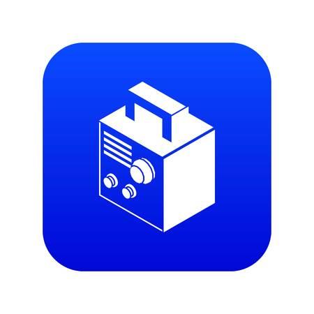 Electro welding machine icon blue vector