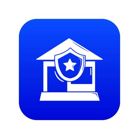 House protection icon blue vector isolated on white background Ilustração