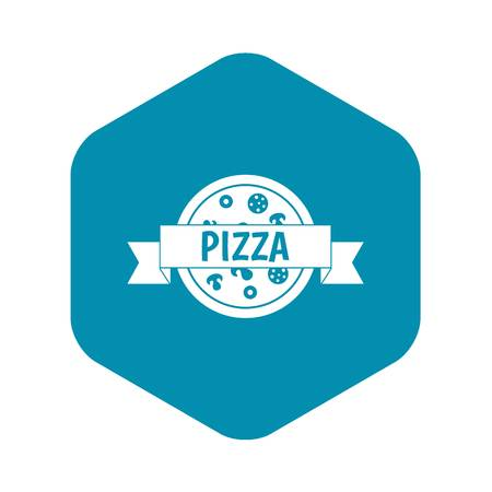 Pizza label with ribbon icon, simple style