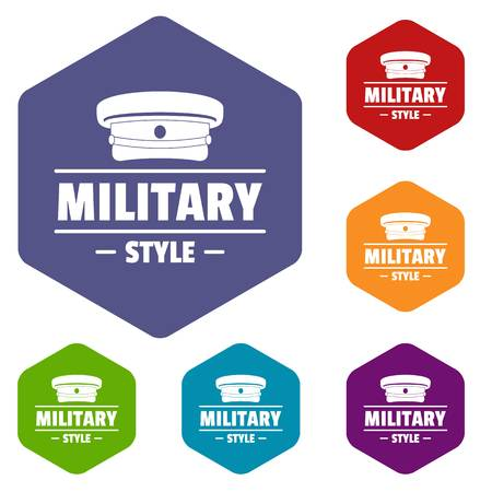 Military hat icons vector hexahedron