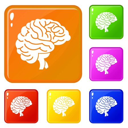 Brain icons set collection vector 6 color isolated on white background