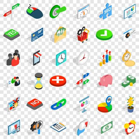 Presentation icons set. Isometric style of 36 presentation vector icons for web for any design Çizim