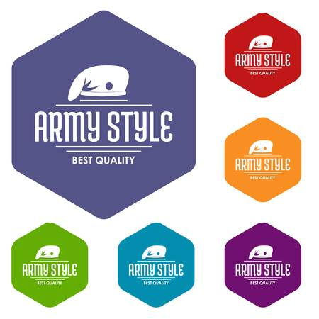 Army style icons vector colorful hexahedron set collection isolated on white