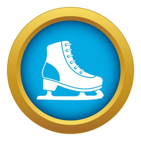 Ice skate icon blue vector isolated