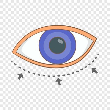 Eye surgery correction icon, cartoon style