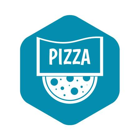 Pizza badge or signboard icon, simple style