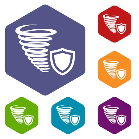 Hurricane protection icons vector hexahedron