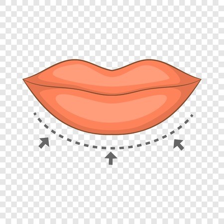 Lips surgery correction icon. Cartoon illustration of body surgery correction vector icon for web design
